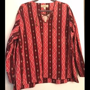 Cabela's Peruvian Red Printed Cotton Top size 2XL